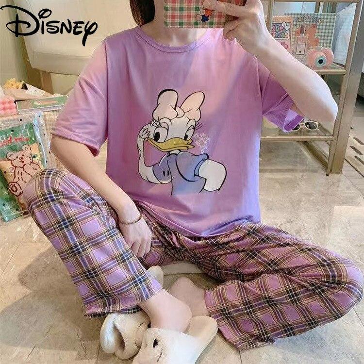 calcas de manga curta pijamas feminino solto servico casa terno 02
