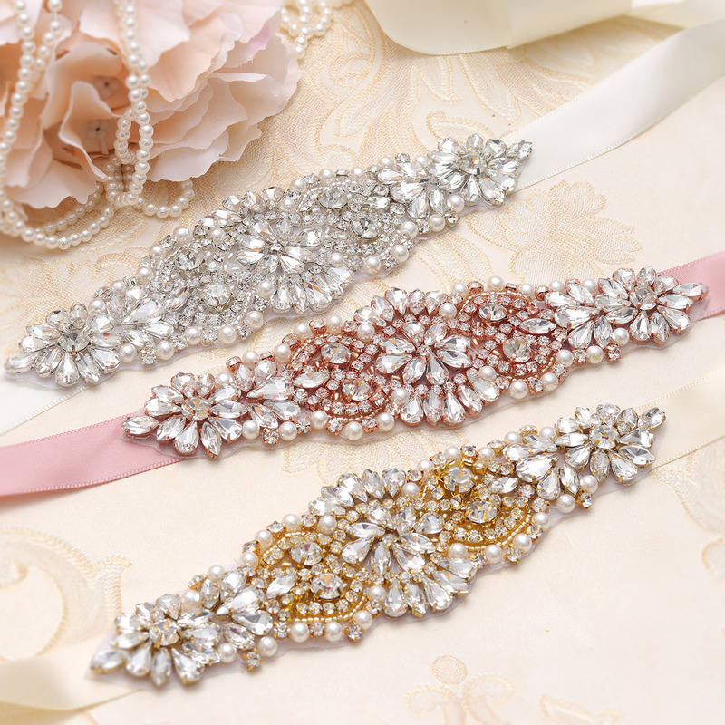 Bridal Belt Beaded Belt Sash Silver Crystal With Pearls  Rhinestones Ribbons For Wedding Dress Accessories Bridal Sash
