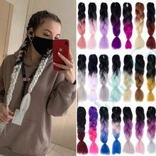 Estensioni dei capelli intrecciate sintetiche a 24 pollici 100 g/pacco 80 colori Ombre estensioni dei capelli per trecce trecce Jumbo dei capelli finti