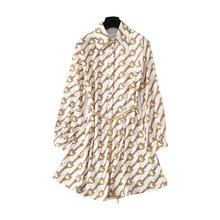 Early Autumn of 2019 European and American Womens Wear Stars with The Same Chain Pattern Printed Lapel Shirt Dress Tie Waist