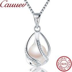 Cauuev orijinal 100% doğal tatlı su incisi takı sıcak satış 925 ayar gümüş kolye kolye kadınlar için kadın yahudi