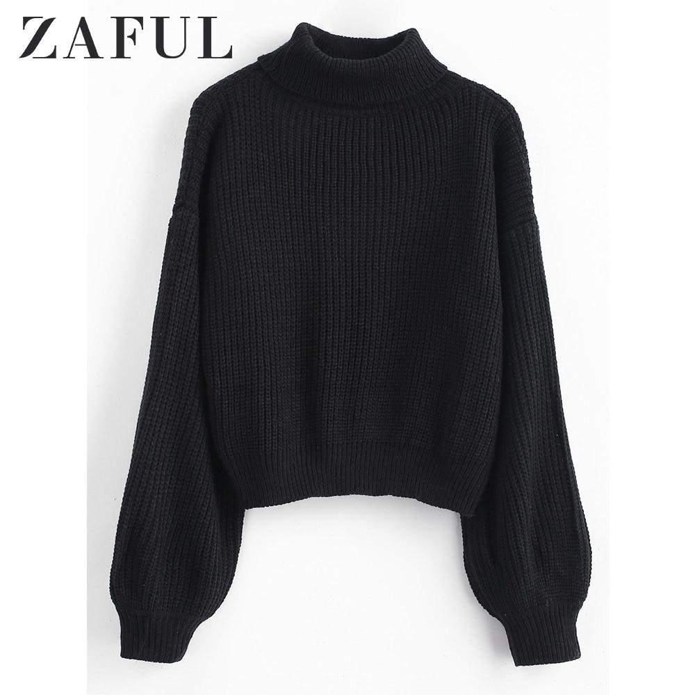 ZAFUL Turtleneck Lantern Sleeves Chunky Sweater Solid Full Lantern Sleeve Cotton Autumn Loose Pullovers Winter Sweater Women