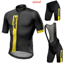 New 2021 black mavic Cycling team jersey 20D bike shorts set Quick Dry Mens Bicycle clothes team pro BIKE Maillot Culotte