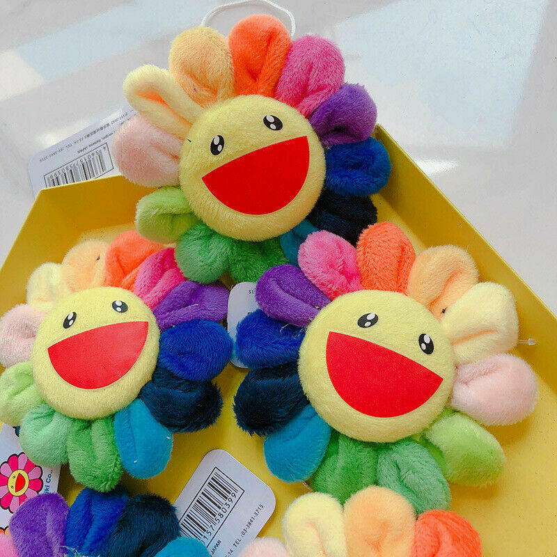 Kids Cute Flower Takashi Murakami Kiki Kaikai Brooch Rainbow Pin Badge Strap Plush Pendant