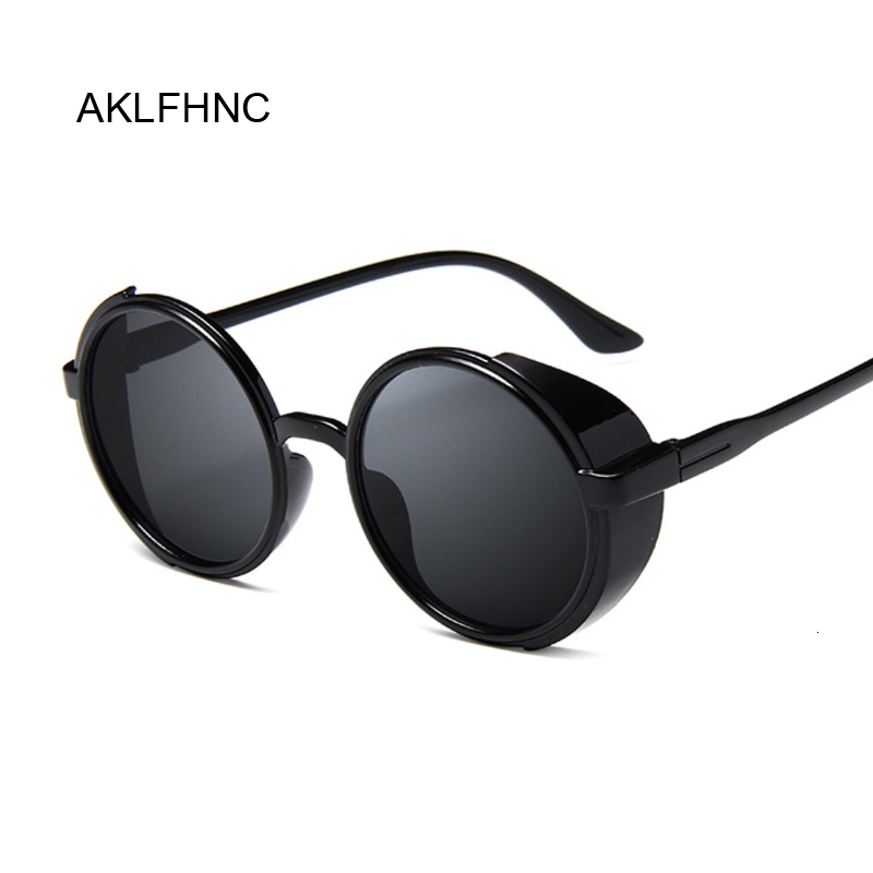 2019 Punk Sunglasses Luxury Brand Black Steampunk Women Round Vintage Mirrored Sun Glasses Female Oculos De Sol Feminino