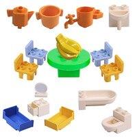 Diy casa blocos de construção brinquedo compatível legoe duplooe peças menino sala estar cama cadeira