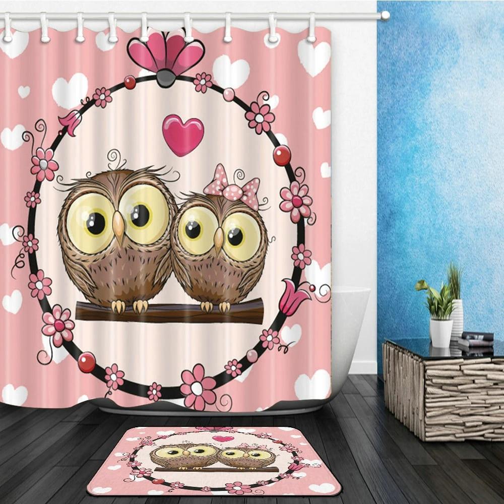 Cartoon Owl Shower Curtains Set Cute Bird Valentine S Day Couples Bathroom Decor Home Bathtub Curtain And Flannel Mat Carpet Shower Curtains Aliexpress