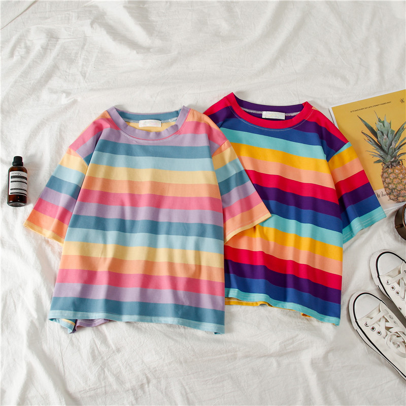 New Casual T-shirt Loose Rainbow Striped Round Neck Short-sleeved Women Short Shirt Top Shirt