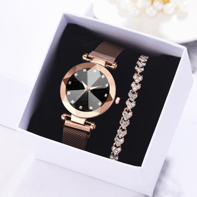 2pcs Watch Bracelet Set Luxury Women Watches Starry Sky Magnet Watch Buckle Fashion Rhinestone Bracelet Wristwatch Dress Clock
