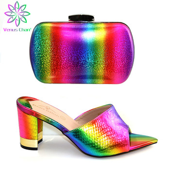 Nigerian Shoes With Matching Bags Set Italian Women's Party Shoes and Bag Sets Multi Color Women High Sandals And Handbag