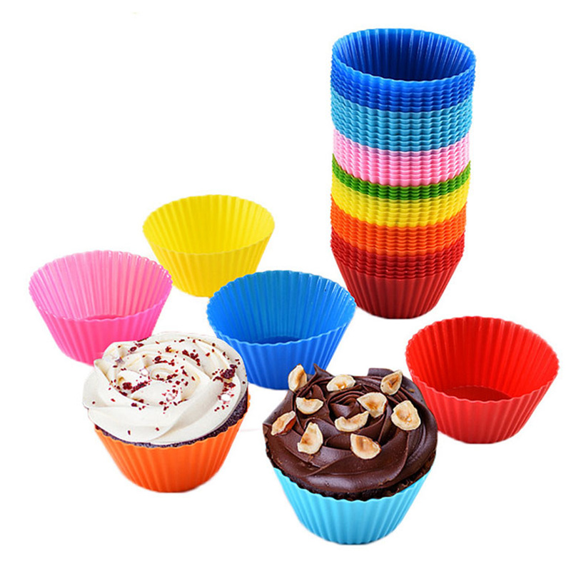 12pcs Silicone Cake Mold Round Muffin Cupcake Baking Molds Reusable DIY Cake Decorating Tools Wedding Birthday Party Decorations