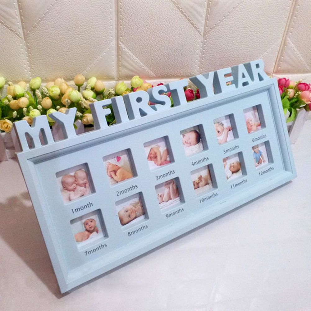 12 Months Newborn Baby Ornaments Photo Frame Infant Show Display Girls Boys Moments Souvenirs My First Year PVC Multifunctional