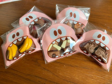 50Pcs Cute Big Mouth Teeth Monster Plastic Bag Wedding Birthday Party Christmas Cookie Candy Gift Packaging Self Adhesive Bags