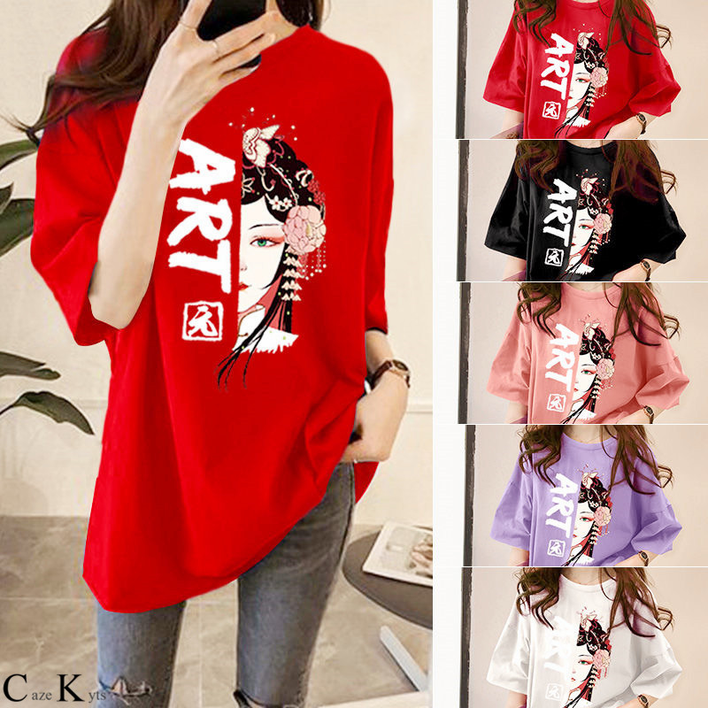 NEW women fashion clothing new women's Top plus size Chinese printed Korean round neck long sleeve T-shirt  graphic t shirts 1