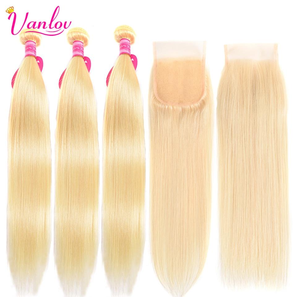 Vanlov Blonde Bundles With Closure 613 Straight Hair 3 Bundles With Closure Human Hair Extension Remy Blonde Hair Bundles (2)