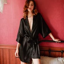 Осенняя Домашняя одежда, шелковые пижамы, халат кимоно для отдыха, женский халат для подружки невесты, халаты, Сексуальный Атласный халат, женские платья