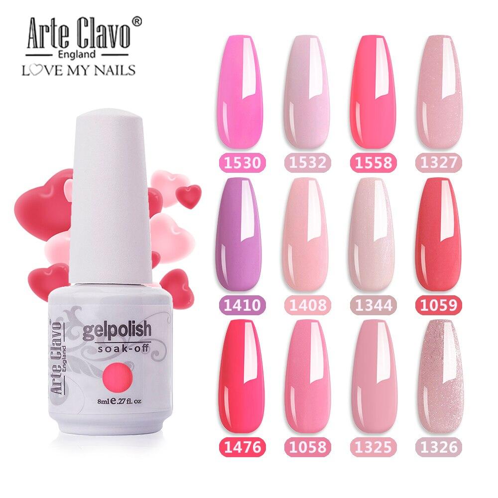 Arte Clavo 85 цветов светодиодный УФ-гель для ногтей салон 8 мл цвет ногтей верхнее покрытие Гель-лак для ногтей Гибридный отмачиваемый Полировоч...