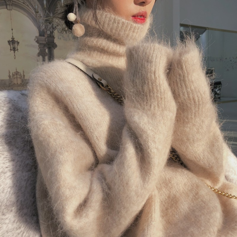 New Pure Mink Cashmere High Collar Shirt Collar Piles Of Autumn And Winter Women's Long-sleeved Sweater Warm Sweater Hedging