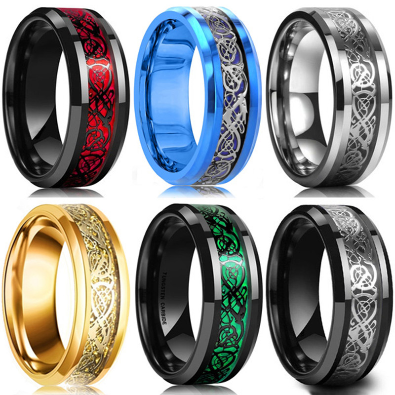 FDLK   8 Colors 8mm Men's Stainless Steel Dragon Ring Inlay Red Green Black Carbon Fiber Ring Wedding Band Jewelry Size 6-13