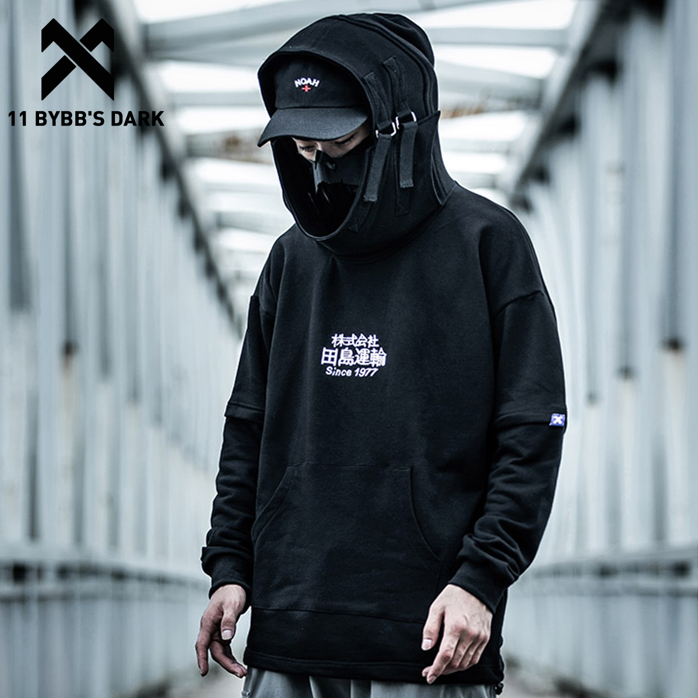 11 BYBB'S DARK Embroidery Harajuku Hoodie Mens Casual Japanese Streetwear Hoodies Hip Hop Sweatshirts Man Pullovers Outerwear