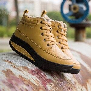 Image 5 - كاوكوم الربيع عالية متابعة أحذية قطنية جلدية الروك أحذية نسائية سميكة سوليد الترفيه تنفس احذية الجري CYL
