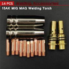 Consumibles de antorcha de soldadura 15AK, 0,6mm, 0,8mm, 0,9mm, 1,0mm, 1,2mm, boquilla de punta para Gas MIG, soporte de 15AK MIG soplete de soldar MAG, 14 Uds.