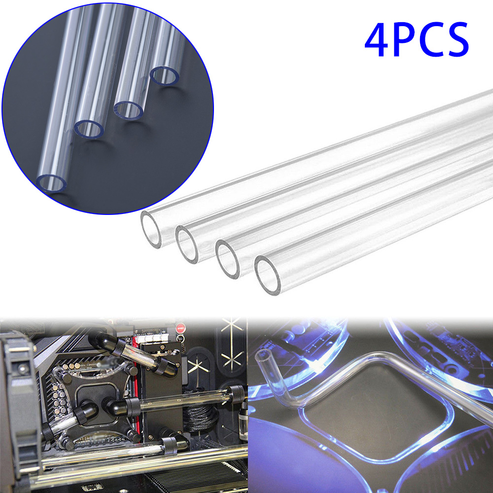 4Pcs 50CM Transparent PETG Tubing Rigid Hard Tubes 10mm/14mm Clear Bending Hard Tubing Hose For Computer Water Cooling System