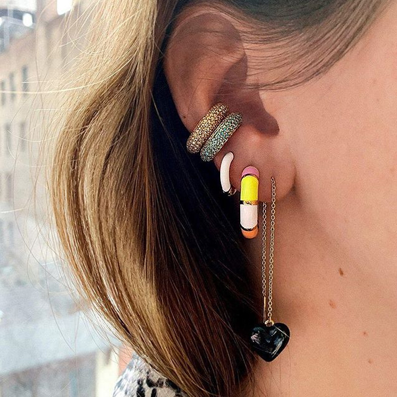 Itenice Bohemia Peral Ear Cuff For Women Girl Multicolor Stackable C Shaped Rhinestone Earcuffs Clip Crystal Earrings Jewelry
