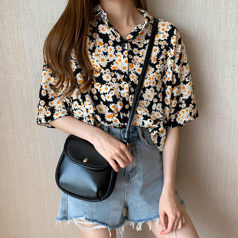 Fashion Wanita Lengan Pendek Bunga Matahari Blus Hitam Kemeja Wanita Kantor Top Wanita Streetwear Blusas Femininas Elegante Plus Ukuran