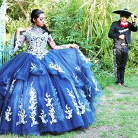 High Neck Blue Quinceanera Dresses Vestido 15 anos Lace Applique Sweet Sixteen Dress Tulle Long Sleeves Masquerade Gowns