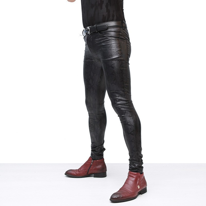 Mens Snake Printed Elastic Skinny Pants Pu Leather Long Stretchy Trousers Man Motorcycle Pants Thin Slim Fit Punk Pantalon Homme