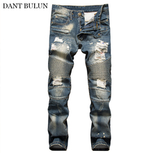 Jeans Men Pants Distressed Moto Hombre Beggar Ripped Slim Fit Denim Straight Trendy Biker Hip Hop Mens