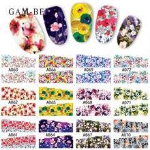Наклейки для ногтей gam belle 12 шт наклейки с цветами и розой