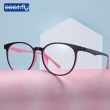 Seemfly Fashion Anti-Blue Light TR90 Flat Mirror Women Men Round Frame Eyeglasses Antifatigue Computer Eyewear myopic frame