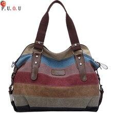 цена на 2019 Famous Brand Women Canvas Shoulder Bags Fashion Messenger Bags Casual Beach Bag Striped Shopping Tote Handbag Bolsos Mujer