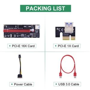 Image 5 - CHIPAL carte Riser double VER009S pcie LED/009S, PCI Express, câble USB 0.6, 1X à 16x3.0 M, alimentation 6 broches, pour Bitcoin Miner