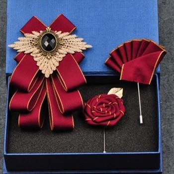 Fashion New Casual Multilayer Bowtie Diamond Brooch Rhinestone Red Bow Tie Brooch Set Wedding Groom Groomsmen Pocket Square Men rhinestone insert ladybird shape brooch