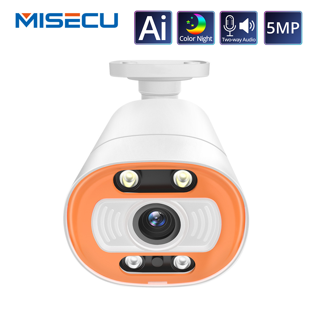 MISECU Ai Smart Camera PoE 5MP With Microphone Speaker Audio Security Camera Outdoor Waterpfoof Night Vision Video Surveillance