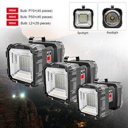 150000LM L2/XHP70 projecteur LED Double tête lampe de poche USB Rechargeable lanterne extérieure lampe de travail d'urgence batterie intégrée
