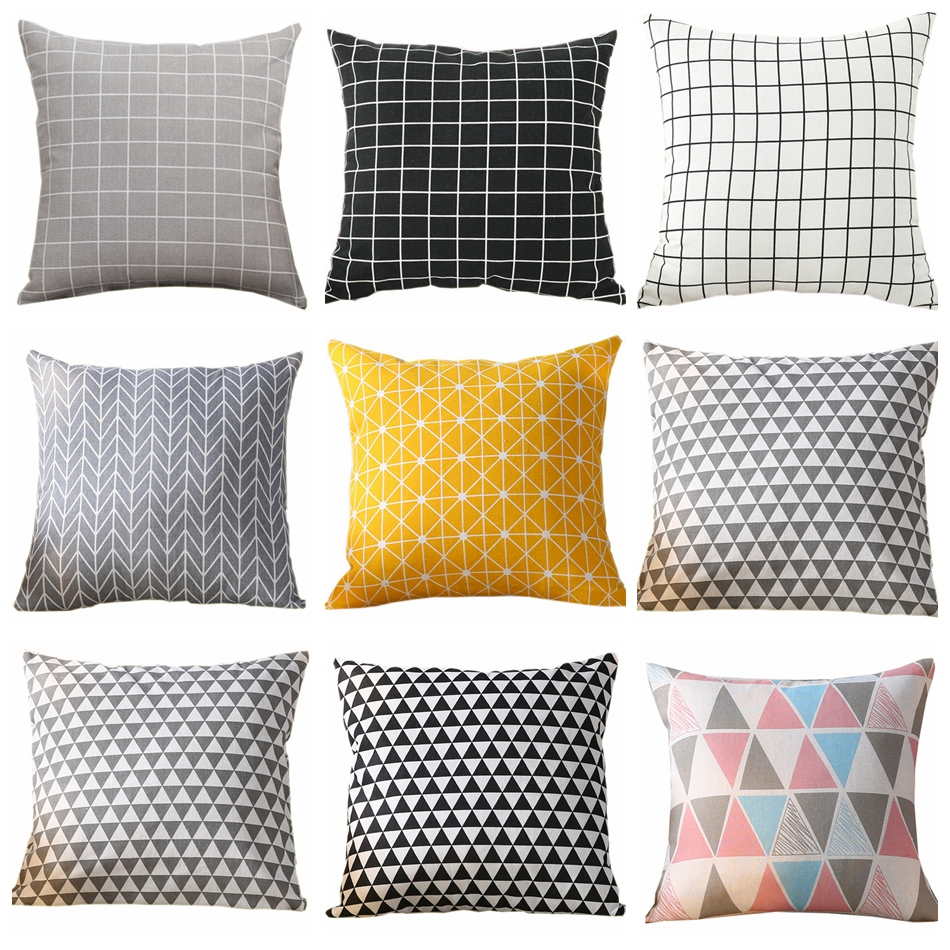 Pillow Case Geometric Yellow/Grey/white/Black Sofa Decorative Cushion Cover Pillowcase Home Decor 40x40cm 45x45cm