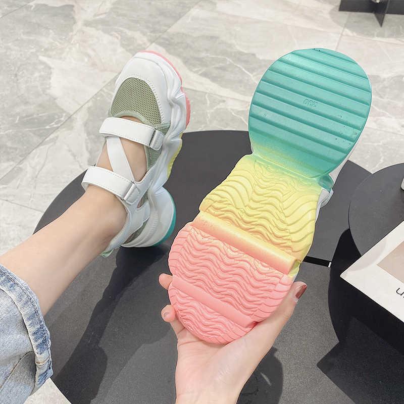 MBR LỰC LƯỢNG quần Áo thun Giày Sandal 2020 Nhiều Màu Đế Nữ Bằng Giản Nền Tảng Giày Thoải Mái Giải Trí Sandal Nữ
