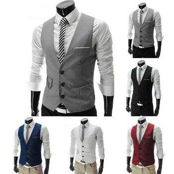 2018 Hot Men Formal Dress Suit Vests Slim Fit Men Suit Vest Male Wedding Party Waistcoat Homme Casual Sleeveless Business Jacket