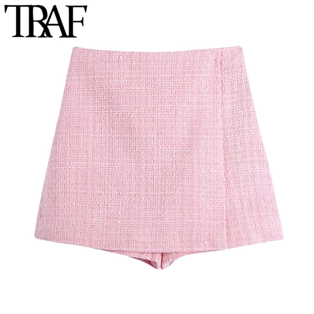 TRAF Women Chic Fashion Tweed Shorts Skirts Vintage High Waist Back Zipper Female Skort Mujer 1
