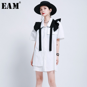 [EAM] Women Black Ruffles Split Irregular Shirt Dress New Lapel Short Sleeve Loose Fit Fashion Tide Spring Summer 2020 1U841