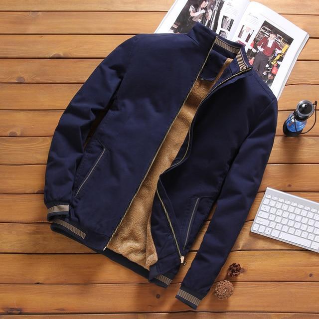Fleece Thick Warm Jacket Mens 2021 Autumn Winter Mens Warm Bomber Jackets Casual Coats Tops Male Outerwear M-5XL 1