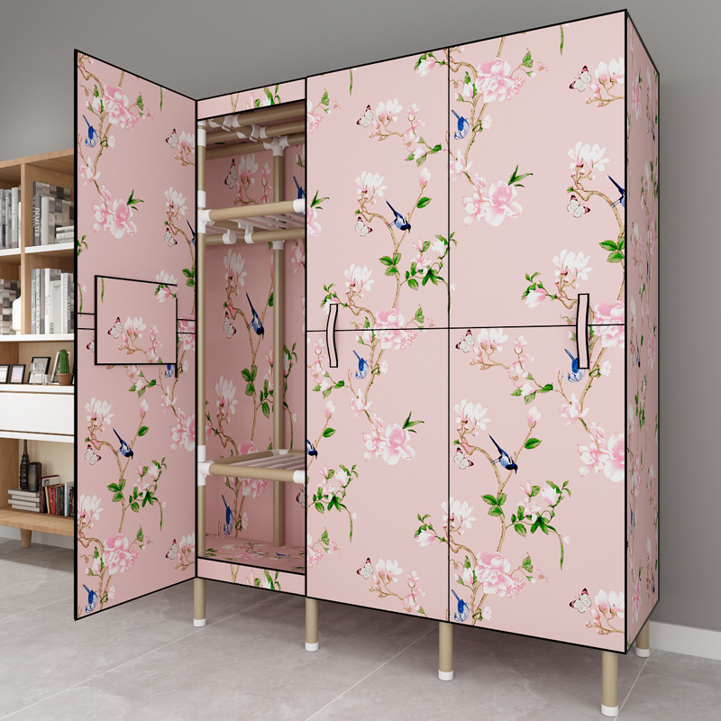 Door Wardrobe Simplicity Cloth Wardrobe Steel Tube Rough Reinforced Assembly Folding Economical Fabric Hanging Wardrobe