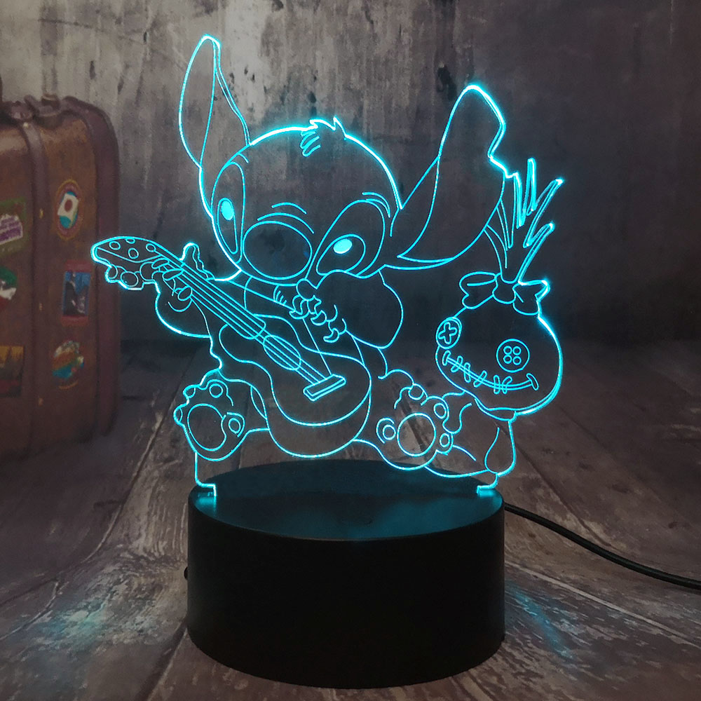 Cartoon Figure Stitch 3D LED Night Light Happy Stitch Playing The Guitar With Friends Scrump Sleep Desk Lamp Home Decor Kid Gift