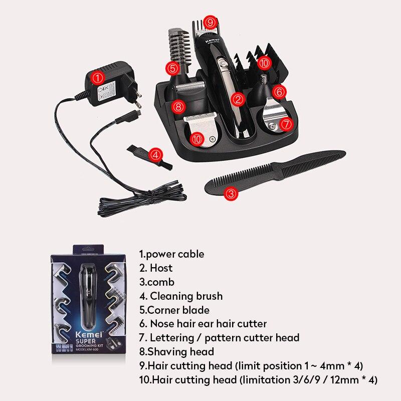 Image 5 - Kemei KM 600 6 em 1 máquina de cortar cabelo elétrica máquina barbear aparador barba corte aparador cabelo orelha nariz e ferramentas limpeza facialAparadores de pelo   -