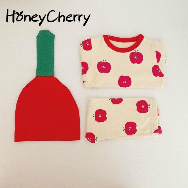 Bebê infantil conjunto de pijamas do bebê casa serviço pacote impressão roupa interior do bebê com chapéu recém nascido roupas da menina do bebê