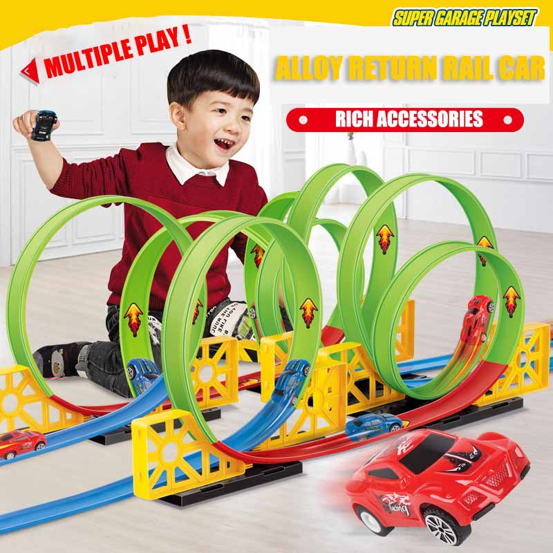 Children's Track Electric City Car Toy Diy Square Auto Lift Highway Model Car Hot Wheel Car Toy Children's Birthday Gift Model
